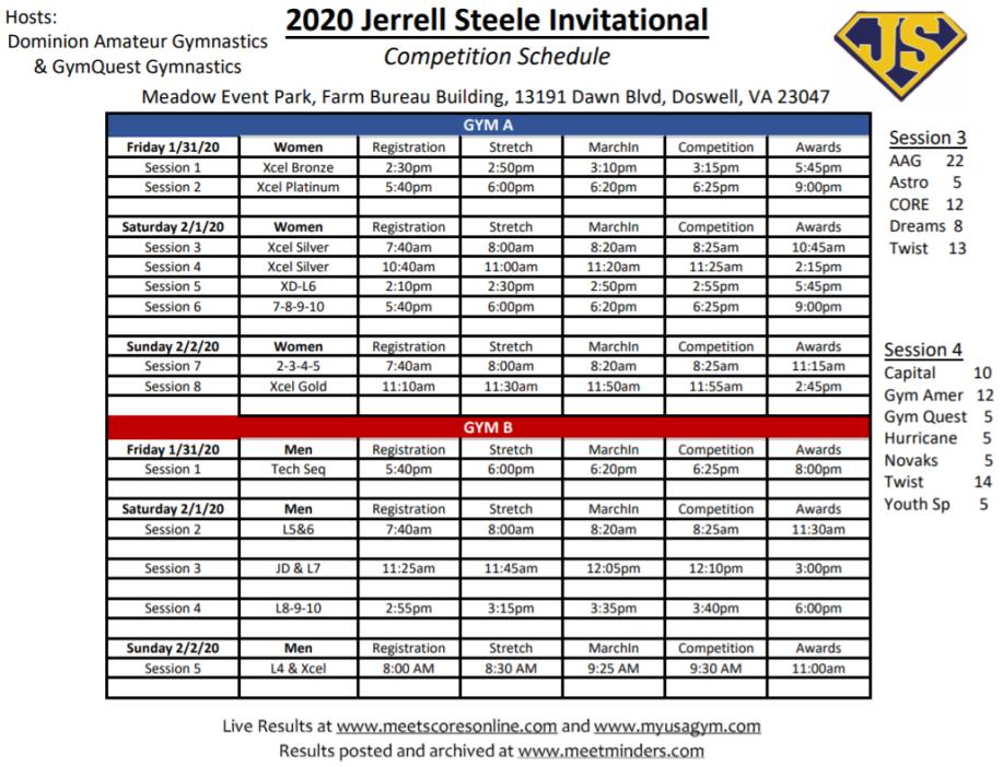 2020 Jerrelle Steele Schedule